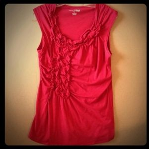 Red RXB Ruched Top-similar to anthropologie brand
